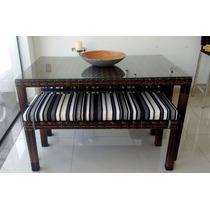 Conjunto Mesa De Vidro E Cadeiras Fibra Sintética Design