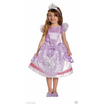 Fantasia Princesa Sofia Disney + Coroa + Colar Tam (3-4)