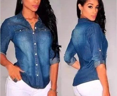 Camisa Blusa Jeans Feminina Lançamento 2019 Outono Inverno