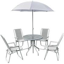 Conjunto Praia Com Ombrelone + Mesa Em Vidro + 4 Cadeiras