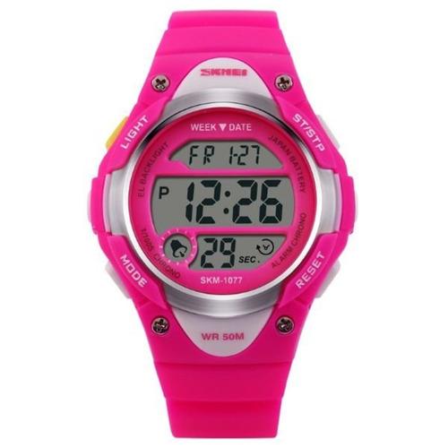 Relógio Infantil Skmei 1077 Digital Rosa Com Nf 7d886c4bb5