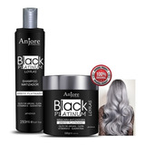 Kit Shampoo 250ml E Máscara Black Platinum Loira 500g Anjore
