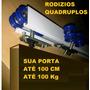 Kit P/ Porta De Correr 2 Mts Branco C/ 08 Rolamentos 100kg