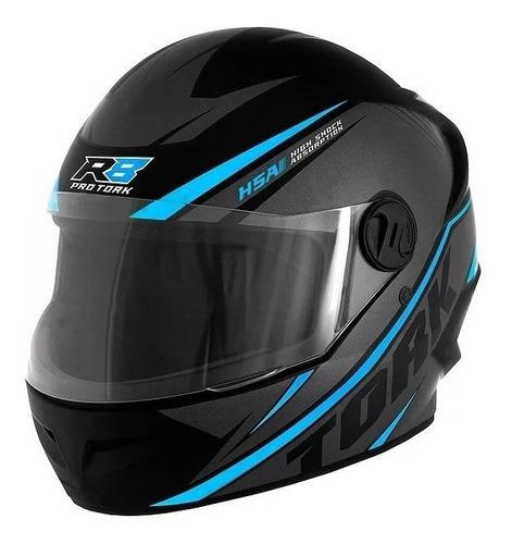 Capacete Para Moto Integral Pro Tork R8 Preto/azul-claro Tamanho 60