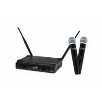 Microfone Lyco Duplo S Fio De Mão Uh02 Uhf Alcânce 100metros