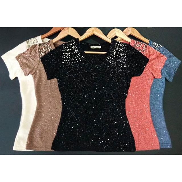 c38065e15 Blusa Feminina Pedraria T Shirt Moda Verao Atacado 10 Pcs em ...