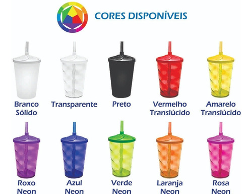 Kit 50 Copos Twister Shake 500ml Com Tampa E Canudo