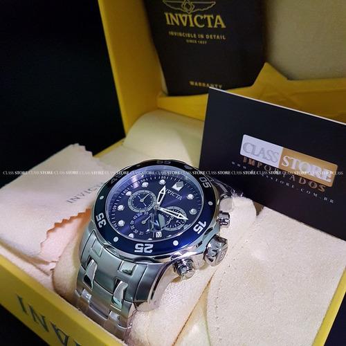 2c29bdd5f74 Relogio Invicta 0070 Pro Diver Original Prata Mostrador Azul
