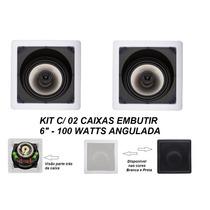 Kit C/2 Caixa Acústica De Teto Som Ambiente Arandela Embutir