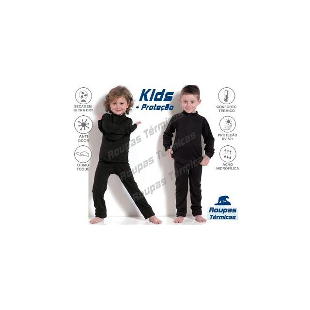 Segunda Pele Kit Térmico Infantil 1 Blusa 1 Calça 1 Meia Uv em ... 8d37bec08cd80
