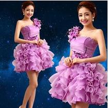 Bonito Vestido Curto Para Debutantes Na Cor Roxa 15 Anos