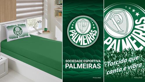 ea5dc6866e Jg Cama Solt + 02 Toalhas Banho Futebol Palmeiras Oficial. R  219