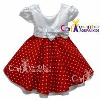 Vestido Minnie Vermelho Disney Luxo Com Tiara De Brinde