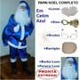Lindo Papai Noel Azul Em Cetim Completo - Pronta Entrega U8