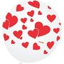 Balão Dia Dos Namorados Branco/vermelho Nº9 - Pacote Com 2