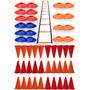 Kit Escada + 30 Cones + 20 Pratos Chinês Half Cone Funcional
