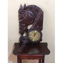 Relógio De Parede Cavalo Do Sol Em Madeira Entalhada