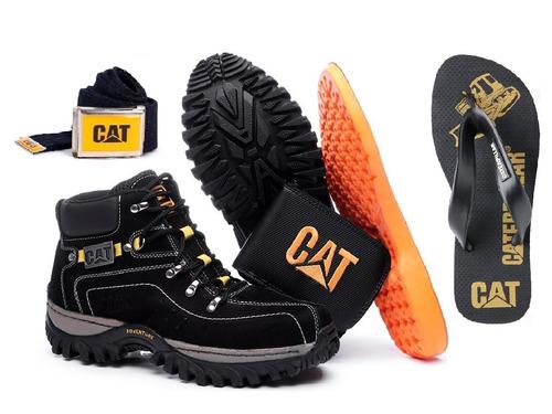 Kit Bota Adventure Caterpillar + Chinelo Promoção Limitada