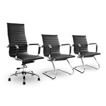Kit Cadeiras Escritório, 1 Presidente +2 Fixa Charles Eames