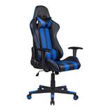 Cadeira De Escritório Pelegrin 3013 Gamer Ergonômica Preta E Azul Con Estofado Do Couro Sintético