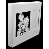 Quadro C/ Porta Retrato Bebê Safari Branco 30x4x25 -laser