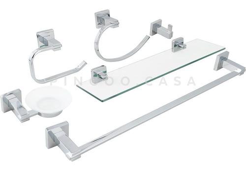 Kit Banheiro Acessórios Quadrado Em Metal 6 Peças 100% Inox