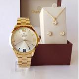 Relógio Champion Feminino Cn29892z + Kit De Brincos E Colar
