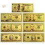 Notas Cédulas Do 1 Ao 100  Dólares Ouro 24k C/suporte Mesa