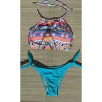 Biquíni/bikini Cropped Com Bojo - Estampa Laranja/liso