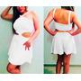 Vestido Branco Rodado Com Recortes Vazado
