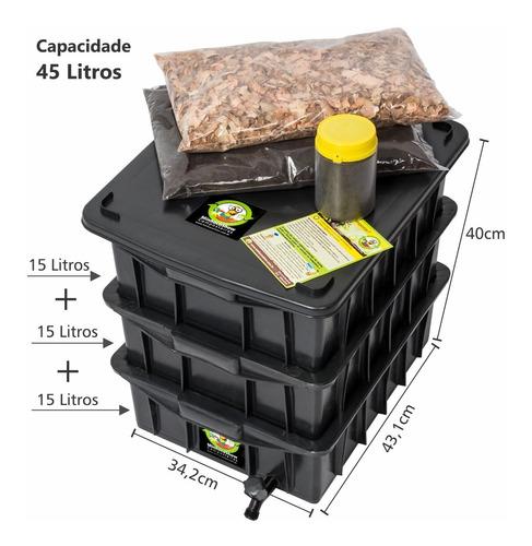Composteira Doméstica 15 Litros + Minhocas