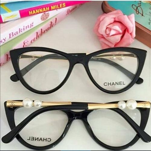 Armação De Óculos De Grau Gatinho C  Pérola Haste C  Brinde - R  120 ... 20210b43b7