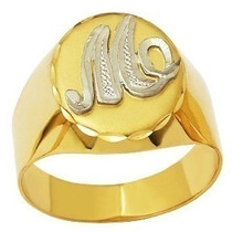 Anel Inicial Letra 100% Ouro 750 12x S/ Juros 6,40g