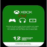 Xbox Live Gold 12 Meses - Código De 25 Dígitos