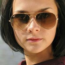 Óculos Escuro Feminino Aviador Rb3025/3026 Marrom Degrade
