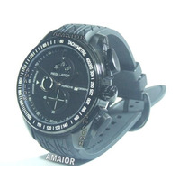 Relogio Porsche Regulator Preto Pulseira Borracha 48mm