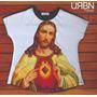 Camiseta Feminina T-shirt Sagrado Coração De Jesus
