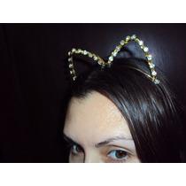 Fantasia Mulher Gato Tiara Ouro Com Strass Luxo Halloween