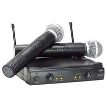 Microfone Sem Fio Duplo Wireles Uhf Karaokê Igrej Kit 2 T87