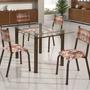 Conjunto Mesa Retangular Tampo Vidro 4 Cadeiras Ddwt