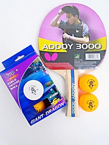 bd90c67db Raquete Tenis De Mesa Butterfly Addoy 3000 + Bolinhas 3pçs