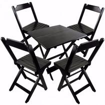 Jogos De Mesas Bar 100x100 Com 4 Cadeiras Dobrável Madeira