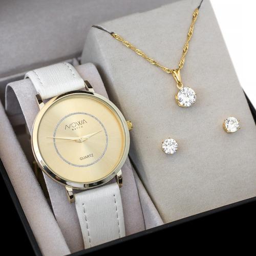 07e48c35ba83b Relógio Nowa Dourado Couro Branco Feminino Nw1408k Kit Joias. R  125.9