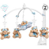 Móbile Berço Bebê Musical E Giratório Urso Aviador Azul Bebê