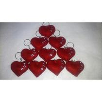 Chaveiro De Coração Em Feltro Vermelho Unidade