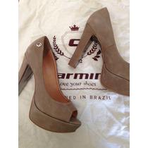 Sapato Peep Toe Carmim Feminino - Nº 36