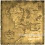 Mapa Terra Média 70x70 Tecido Byorange Lake Studio Sr. Aneis