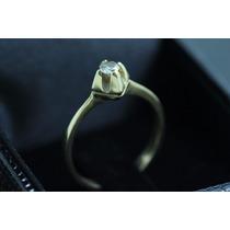 Anel Solitário Com Diamante 25 Ponto Ouro 18k