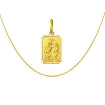 Medalha Para Batizado Com Corrente Veneziana Ouro 18k