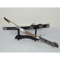 Espada Katana Samurai Ninja + Suporte Cabo Cabeça De Aguia